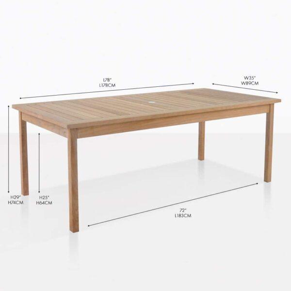 Nova Fixed teak dining table