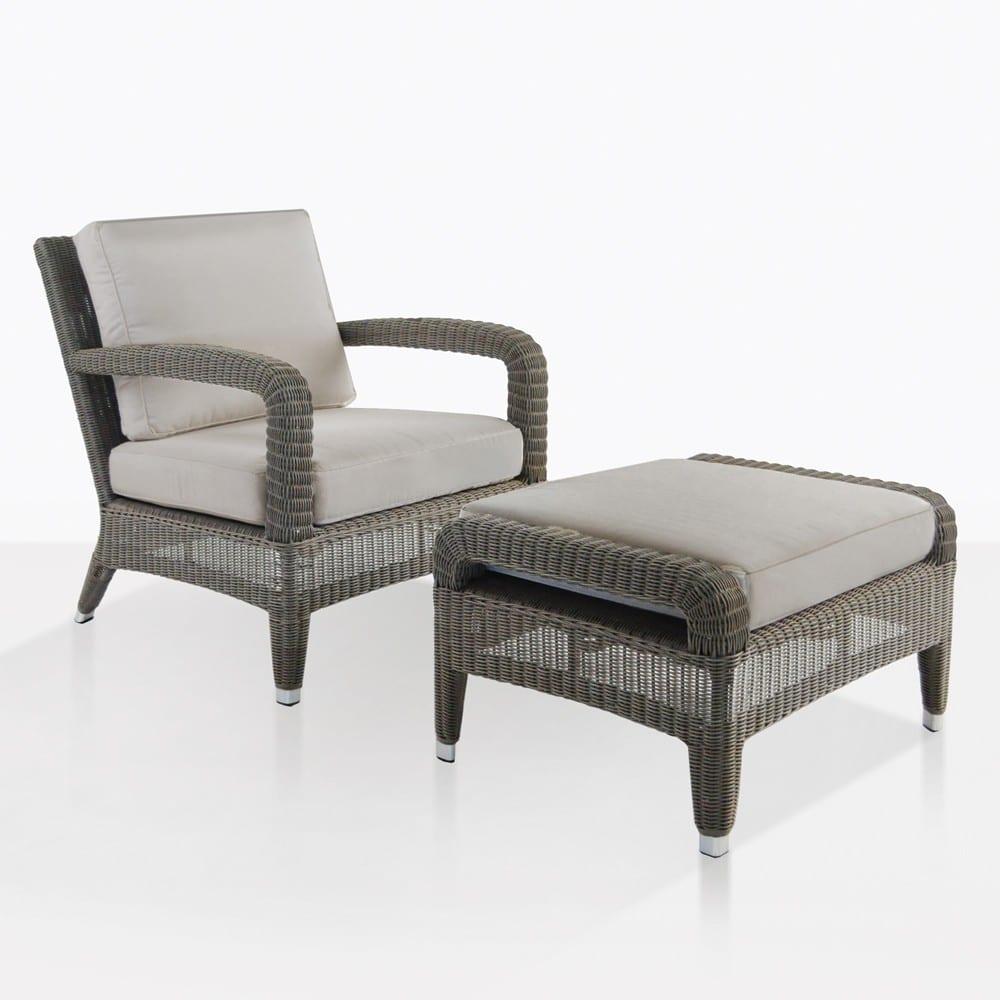 aaron outdoor wicker chair and ottoman set kubu teak warehouse. Black Bedroom Furniture Sets. Home Design Ideas