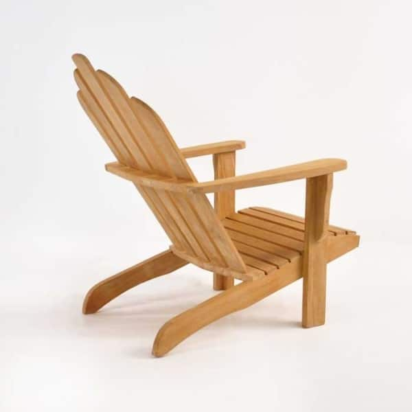 teak adirondack chair back angle view