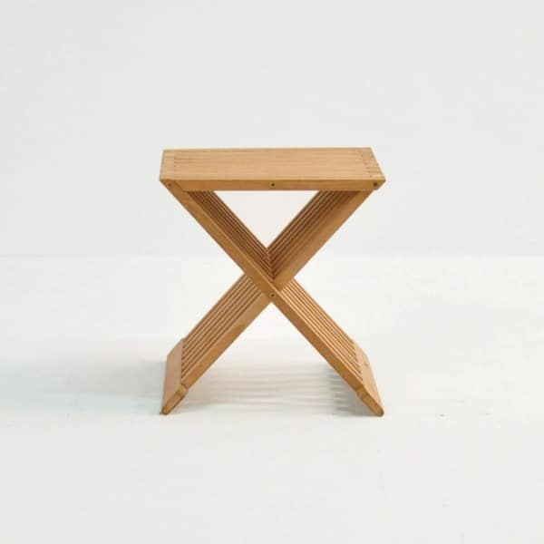 azura teak accent table side view