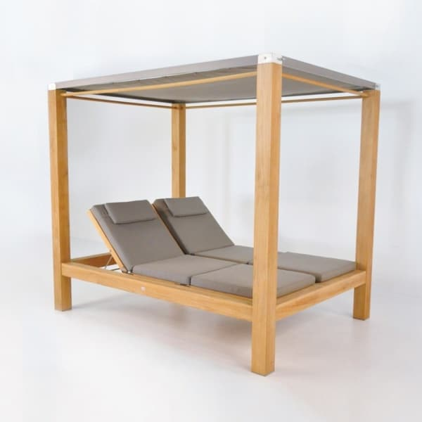 Beach Teak Sun Lounger with Canopy-0
