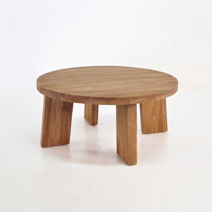 Low Round Teak Coffee Table: Block Round Reclaimed Teak Coffee Table