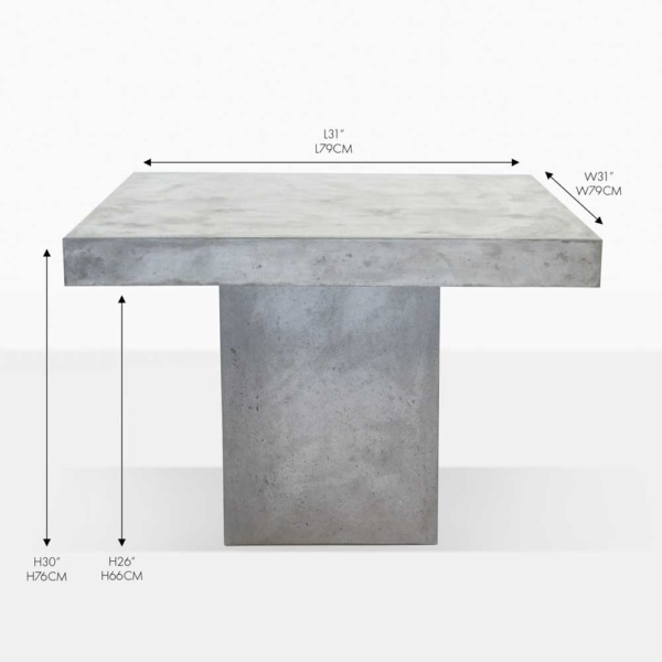 blok concrete square dining table
