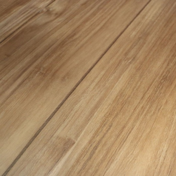 blok round teak coffee table closeup view