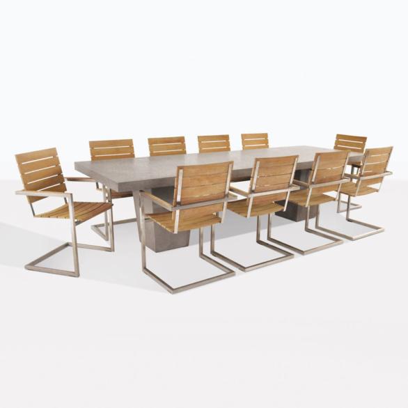 Bruno Teak And Concrete Dining Set