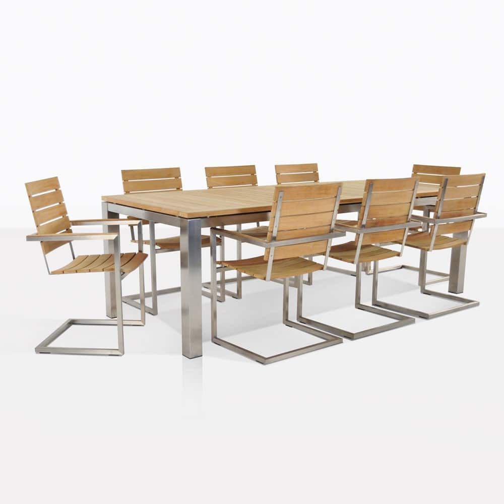 Stainless and Teak Table and Chairs Outdoor Dining Set ...