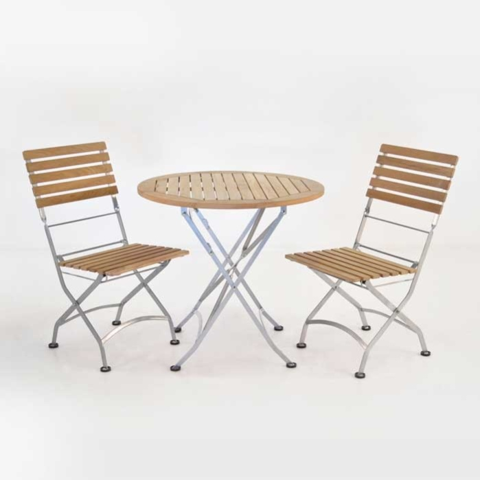 Cafe Round Folding Table and Side Chairs Dining Set-0