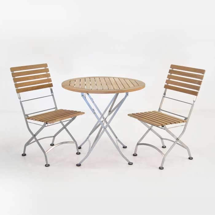Cafe Round Folding Table and Side Chairs Dining Set
