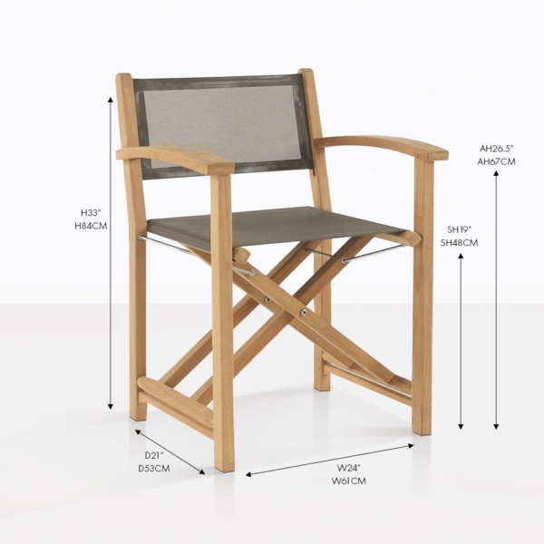 cannes taupe folding teak dining chair