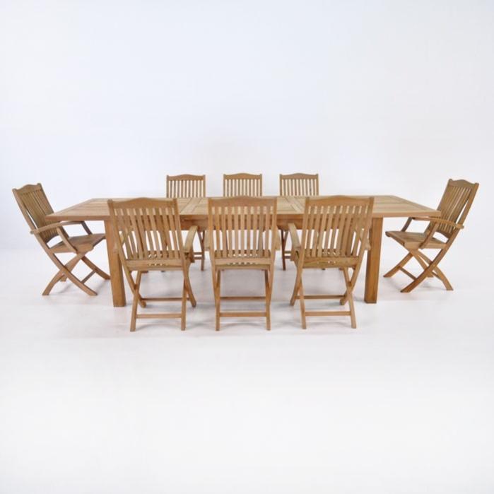Teak Dining Set | Capri Double Extension Table and 8 Kensington Chairs-0