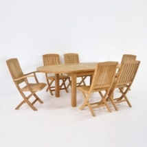 Teak Dining Set | Capri Oval Double Extension Teak Table and 6 Chairs-0