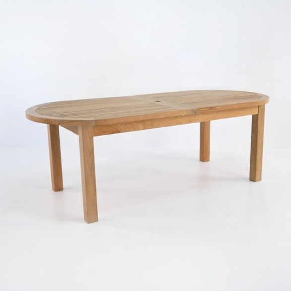 capri double extension teak table