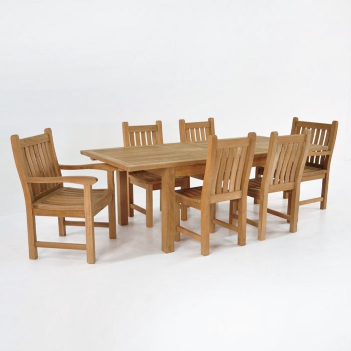 Outdoor Dining Set | Capri Extension Table with 6 Chairs-0