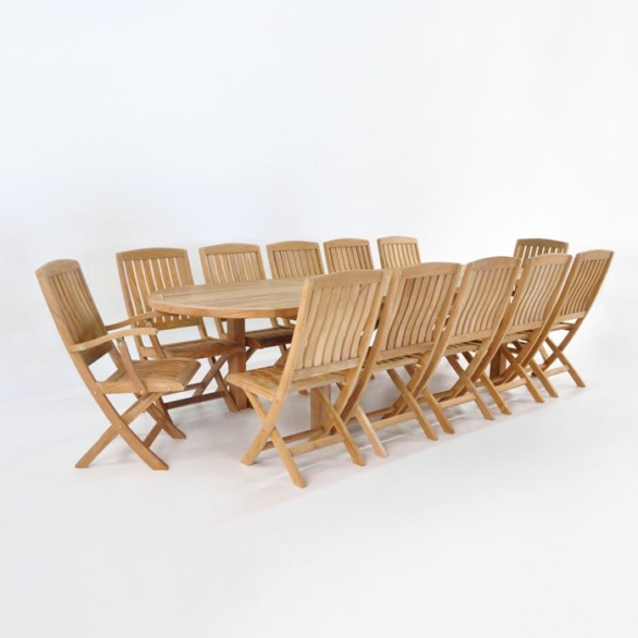 Teak Outdoor Dining Set | Capri Extension Table and 12 Como Chairs-0