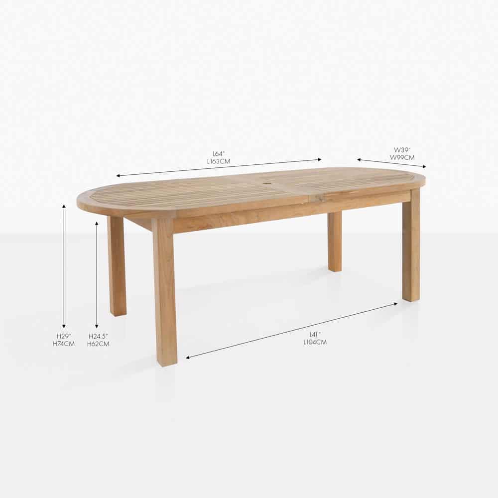 Capri Oval Teak Double Extension Table Teak Warehouse