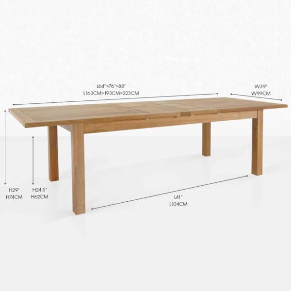 capri rectangle double extension table