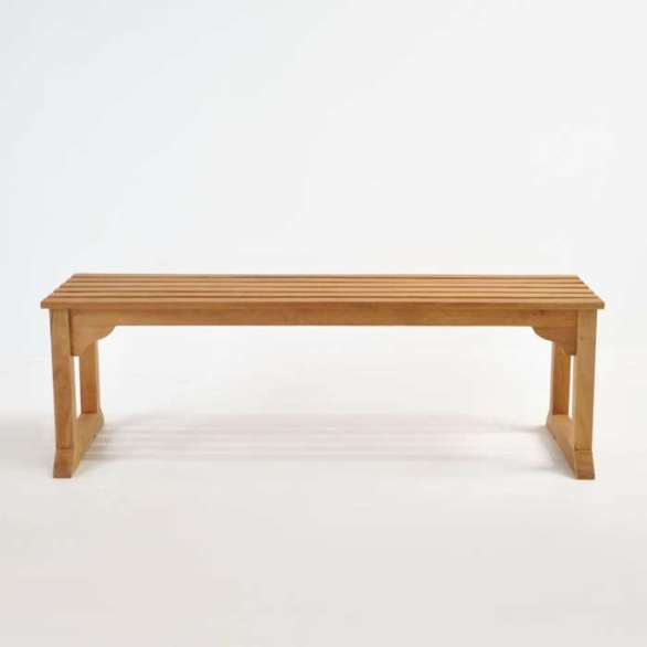 classic teak backless bench front view