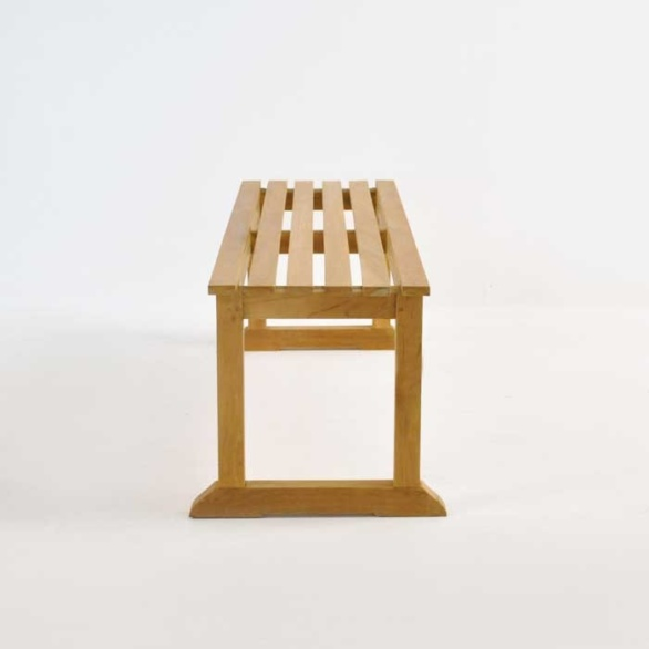 classic teak backless bench side view