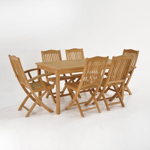 Teak Dining Set | Fixed Teak Table and 6 Chairs-0