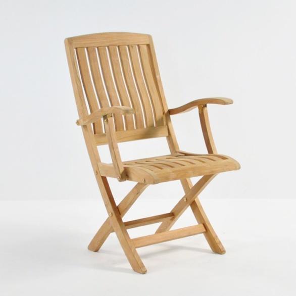 como folding teak armchair