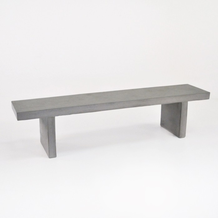 Raw Concrete Outdoor Bench 74 Garden Dining Seating Teak Warehouse