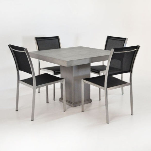 Outdoor Dining Set | Concrete Pedestal Table and 4 Batyline Chairs -0