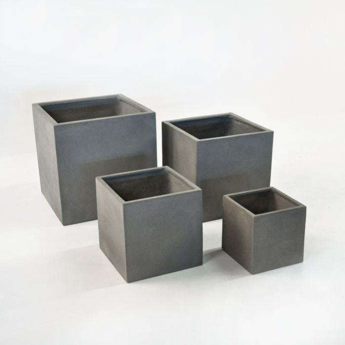 Raw Concrete Planters (Square)-0