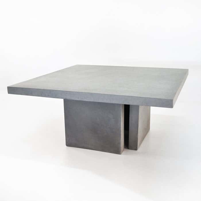 Square Concrete Table And 4 Bench Outdoor Dining Set
