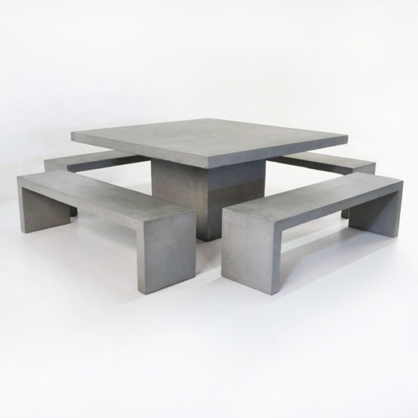 Square Concrete Table and 4 Bench Outdoor Dining Set-0