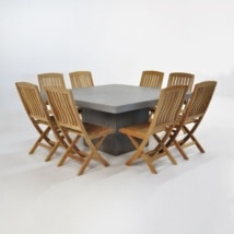 Outdoor Dining Set | Square Concrete Table with 8 Chairs-0