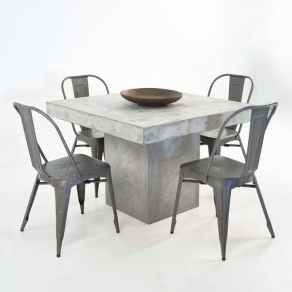 Blok Square Concrete and Alix Chairs Outdoor Dining Set-0