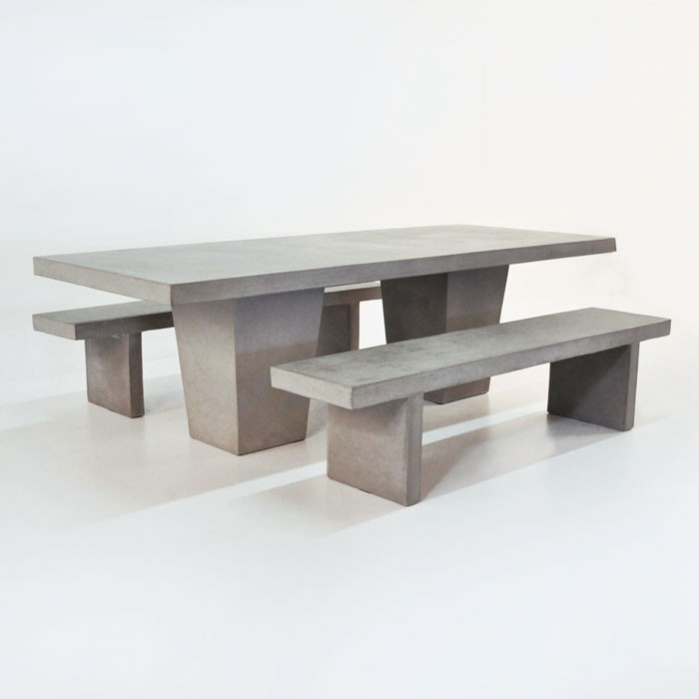 outdoor dining set tapered concrete table and 2 benches0