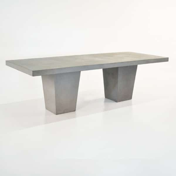 Raw Concrete Tapered Outdoor Dining Table-0