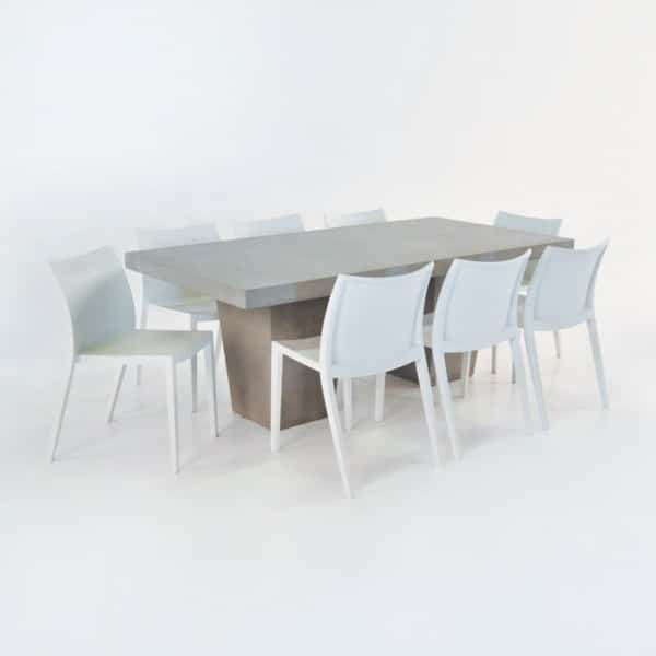 Outdoor Dining Set | Concrete Table & 8 Box Chairs -0
