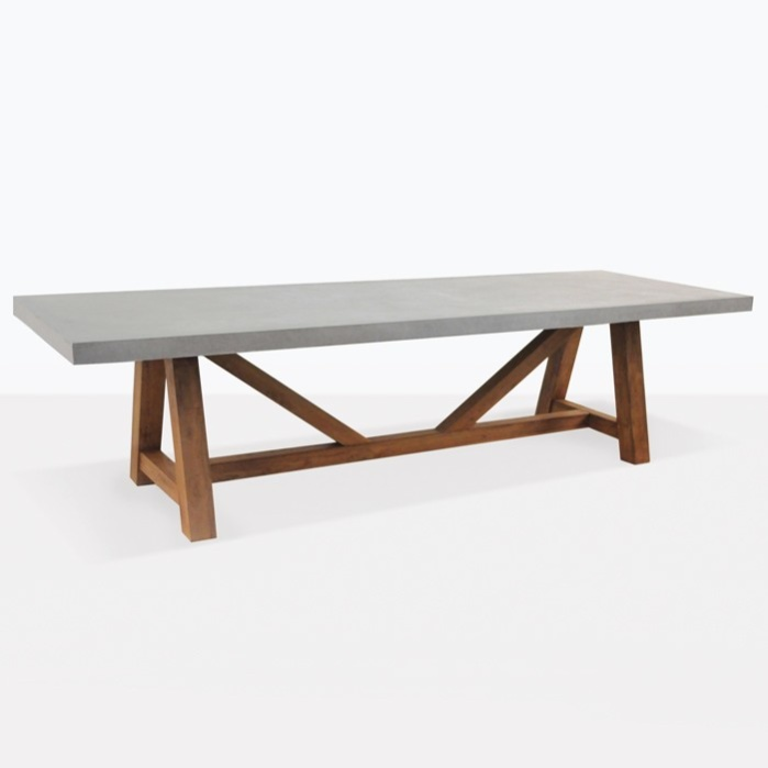 Raw Concrete Trestle Tables Outdoor Dining Seats 8