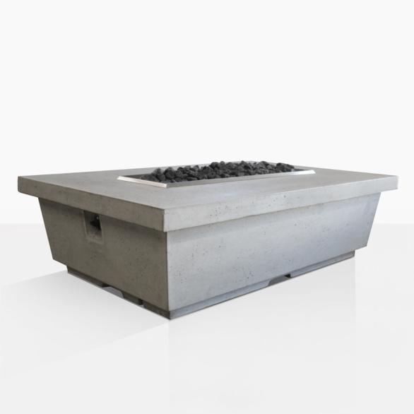 Contempo Rectangular Concrete Fire Pit Teak Warehouse