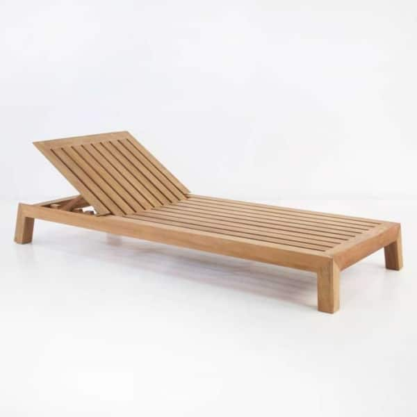 contempo teak chaise lounge front angle view
