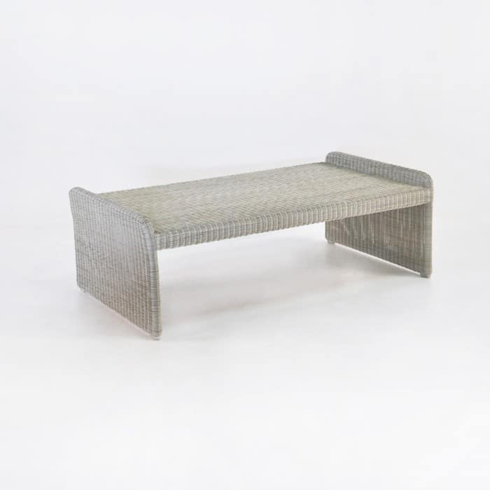 Cube Outdoor Wicker Coffee Table Stonewash Teak Warehouse