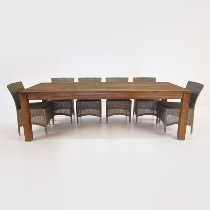 Manhattan Reclaimed Teak Table With 6 Wicker Chairs Outdoor Dining Set