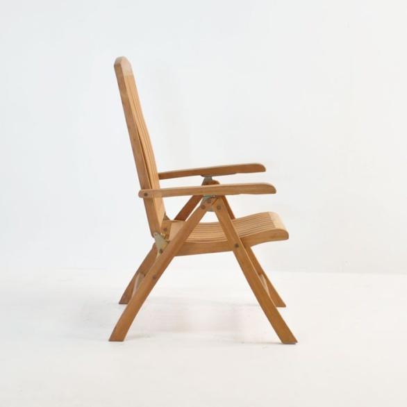 dorset teak reclining chair side view