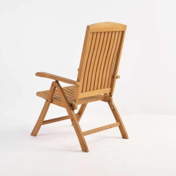dorset teak reclining chair back angle view