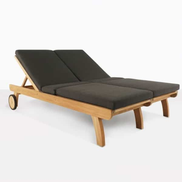 Teak Double Sun Lounger for Two