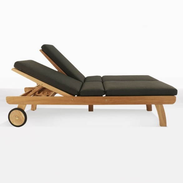 Teak Double Sun Lounger with cushions