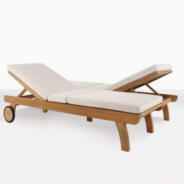 Teak Double Sun Lounger with wheels