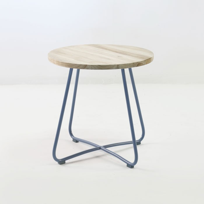 Driftwood Teak Table: East Side Table (Blue)