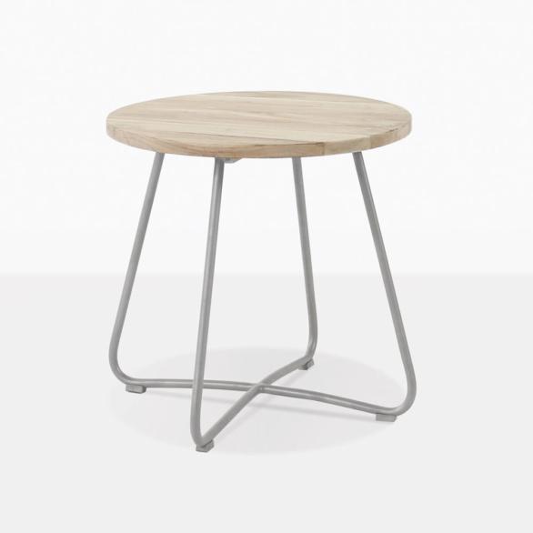 East Teak And Steel Round Side Table