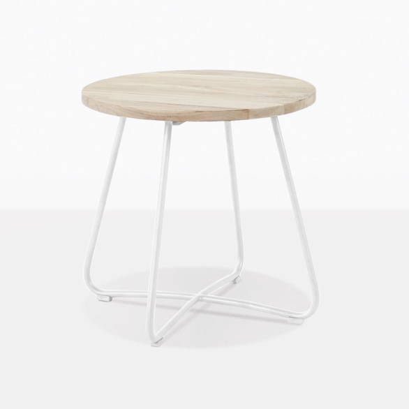 East Teak And White Side Table