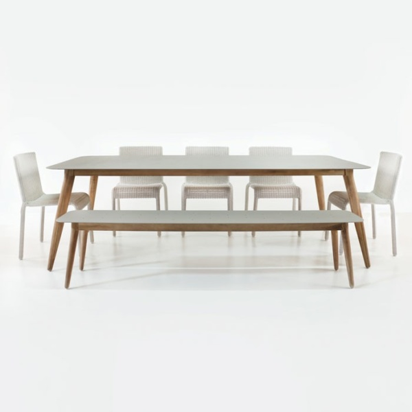 Edition Table with Zambezi Chairs and Bench Outdoor Dining Set-0