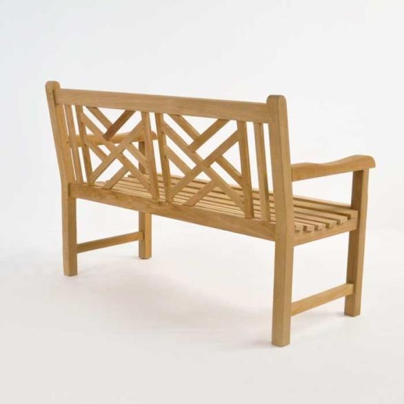 elizabeth teak garden bench 2 seat back view