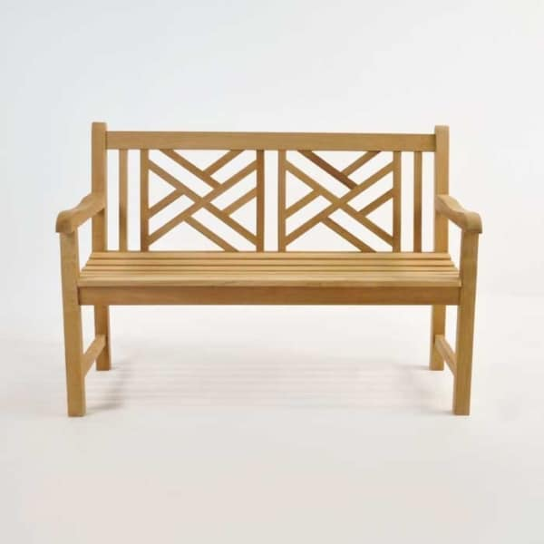 elizabeth teak garden bench 2 seat front view